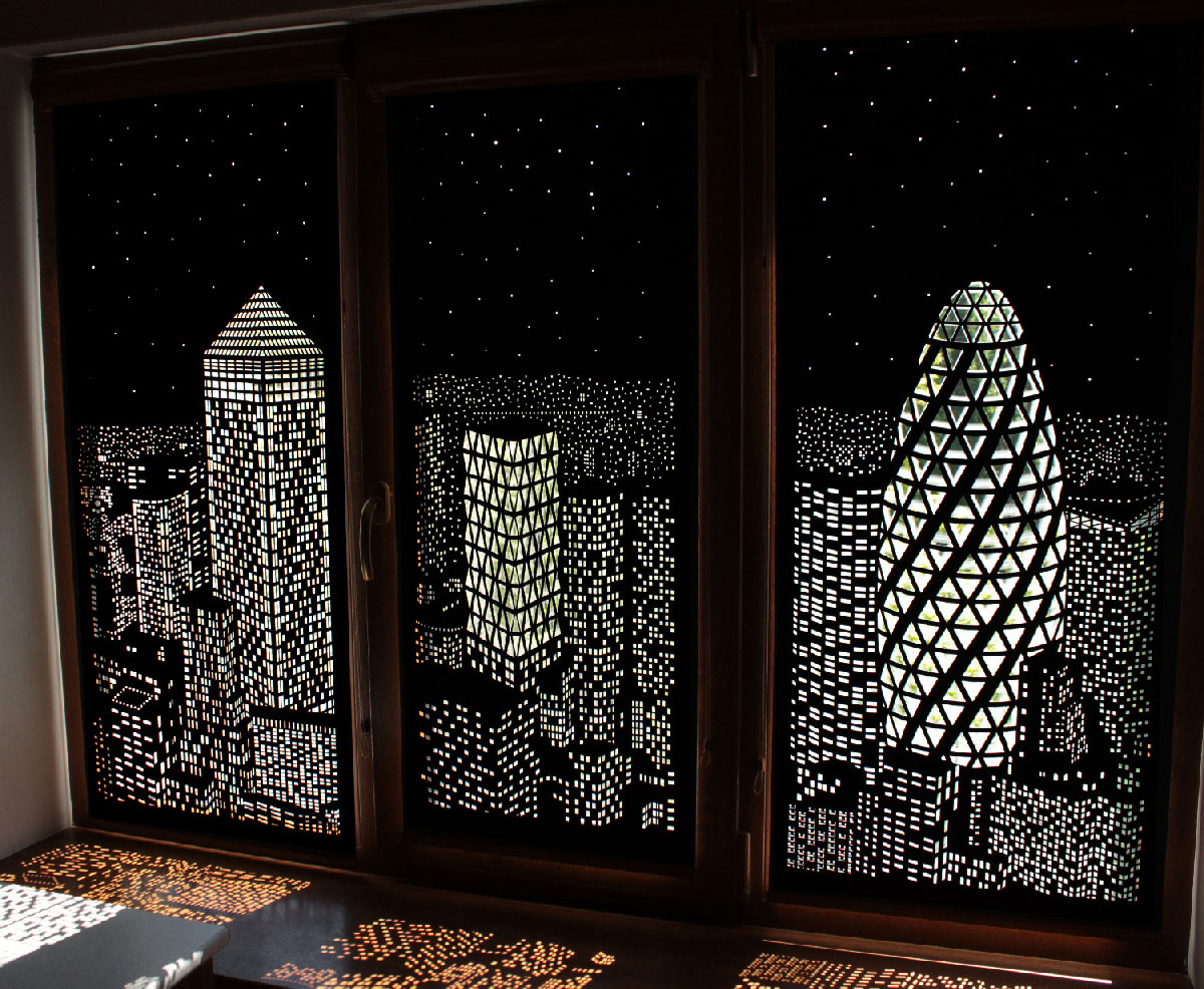 Hole Roll - zaciemniające rolety z panoramą Londynu lub Nowego Jorku.Hole Roll - blackout blinds with London or New York skyline.